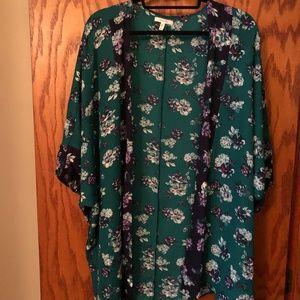 Maurices Green/Navy Floral Kimono | Size 2/3